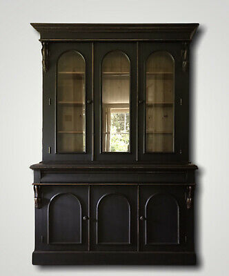 £1695 • Buy Large Black Painted Victorian Style Country Pine Glazed Dresser Cabinet Bookcase