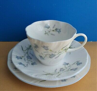 £14.99 • Buy Queens Rosina Harebell Blue Flowers Tea Trio: Cup + Saucer Side Plate Bone China