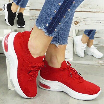 $ CDN24.04 • Buy Ladies Sock Trainers Sneakers Lace Up Womens Jogging Plimsole Pumps Shoes Sizes