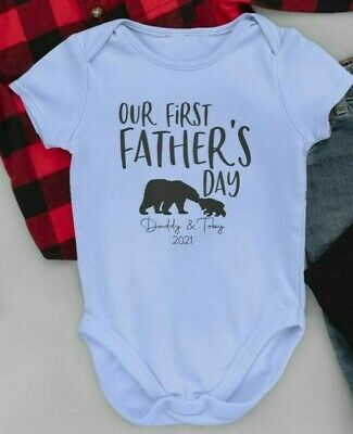 £6.99 • Buy 1st Father's Day Vest Personalised Name Bear Baby Grow Bodysuit Dad Gift Daddy