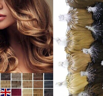 £19 • Buy 16 18 20 22  1G Micro Bead Easy Loop Ring Remy Human Hair Extensions Straight