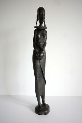 £24.95 • Buy Vintage Hand-carved Ebony Wooden Figure Statue Woman African Tribal Art