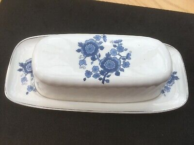 £7.49 • Buy Enoch Wedgwood Royal Blue Ironstone Butter Dish With Lid