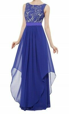£19.50 • Buy Ever Pretty Max Dress Blue And White - Chiffon Maxi Prom Ball Gown