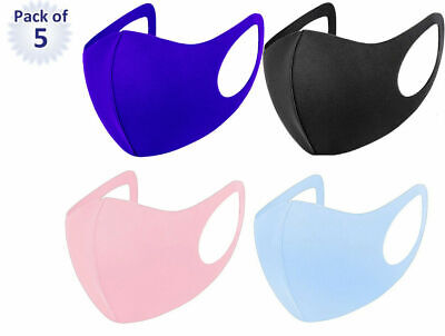 £2.99 • Buy Pack Of 5 Adult Face Mask Black Reusable Washable Breathable Dust Mouth Cover