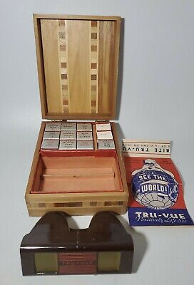 £77.87 • Buy Vintage Tru-Vue Stereoscope Viewer With 12 Films Wooden Case