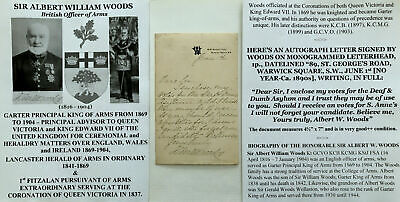£209.56 • Buy 1800s Signed Asylum Letter King Of Arms CORONATION QUEEN VICTORIA & KING EDWARD