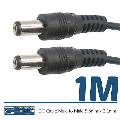 £2.20 • Buy 5.5mm X 2.1mm 12V 24V DC Male To Male Power Extension Cable Jack 1M Lead