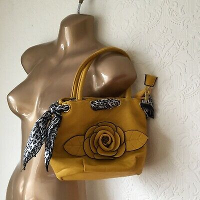 £8.99 • Buy Yellow Leather Bag With Floral Detail Leko Of London