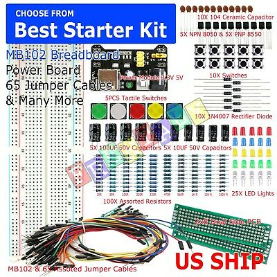 £7.06 • Buy 830 Point Solderless Breadboard 65 Pcs Jumper Cable Mb-102 Power Supply Module