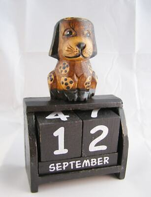 £10.99 • Buy Dog Perpetual Calendar, Wooden Desk Ornament New Brown Shabby Chic