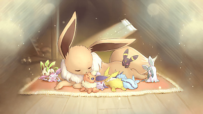 £4.89 • Buy Eevee Pokemon Evolutions Home Family Baby Print Poster Wall Art Picture A4 +