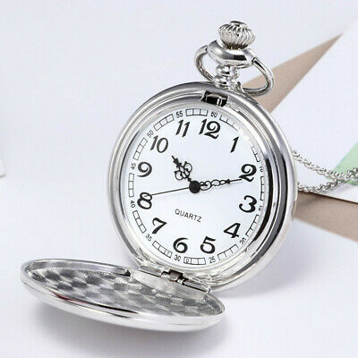 £4.23 • Buy UK Pocket Watch Wedding Birthday Christmas Gift With Chain Classic Silver