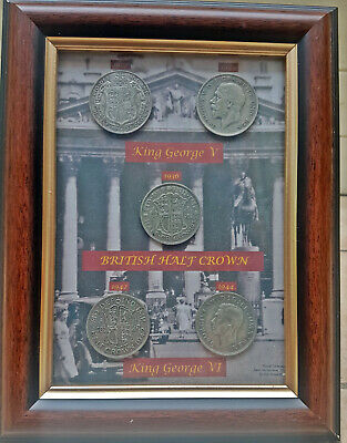 £29.99 • Buy 1940's British Half Crowns Coins In Picture Frame King George V & VI Nice Gift