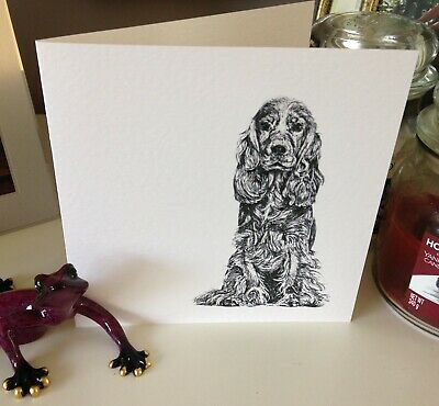 £3.25 • Buy Cocker Spaniel Dog Greetings Card, Birthday, Pen And Ink