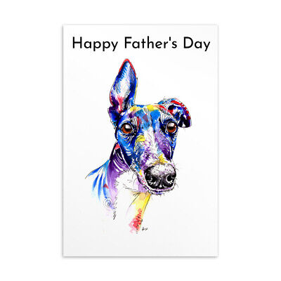 £4.85 • Buy Fathers Day Card Greyhound Whippet Lurcher Italian Dog Gift - CUSTOM TEXT