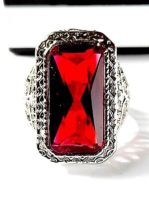 £5.99 • Buy New Unisex 925 Sterling Silver Princess Cut 8.2ct Huge Red Stone Ring Size M