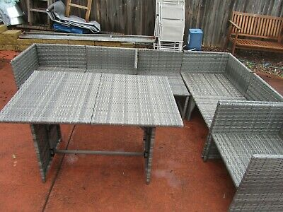 AU39.99 • Buy  Outdoor Furniture Wicker Rattan  Lounge Setting Grey With A Table , Seat 6