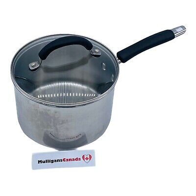 $ CDN22.01 • Buy Rachael Ray 3 Quart Stainless Steel Saucepan | With Glass Lid & Silicon Handles