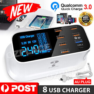 AU32.95 • Buy 8 Multi-Port USB Charging Station Quick Charger 3.0 + Type C Adapter LED Display
