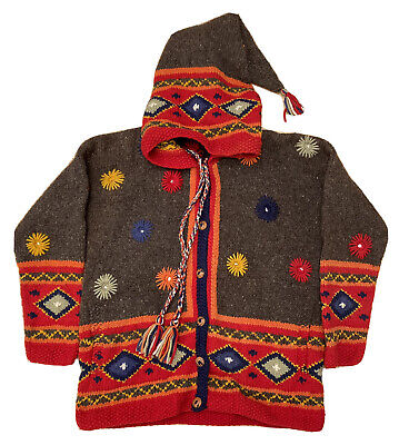 £84.99 • Buy Vintage Pachamama 90s 100% Wool Hand Made Knitted Hoodie Jumper Womens Large