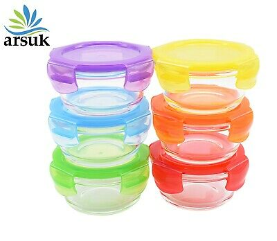 £7.99 • Buy Glass Bowl Food Containers 200ml 6pcs Multicolor Lids Leakage Free Airtight