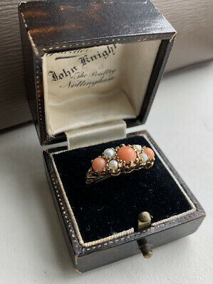 £330 • Buy 9ct Gold Victorian Style Ring Set With Coral And Pearls Size K 1/2