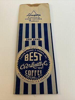 £7.60 • Buy Vintage One Pound Coffee Bag Corning NY Coger Tucker & Cheney Best Coffee