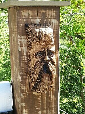£29.99 • Buy Chainsaw Carved Green Man / Wood Spirit Gate Post