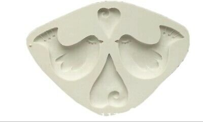 £8.50 • Buy Hearts Dove Silicone Mould  Sugar  Freeze And Fuse  Cake Decorating Fimo Resin