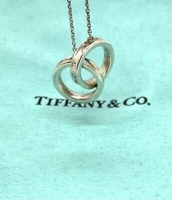 """£130.98 • Buy Authentic Tiffany & Co Sterling Silver Interlocking Circles Necklace Pendant 17"""""""