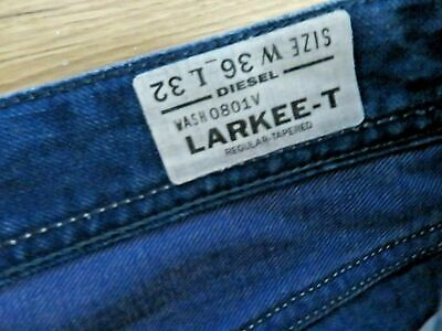 £49.18 • Buy DIESEL LARKEE - T AUTHENTIC JEANS Size W 36 L 32 Wash 0801V Leather Tag