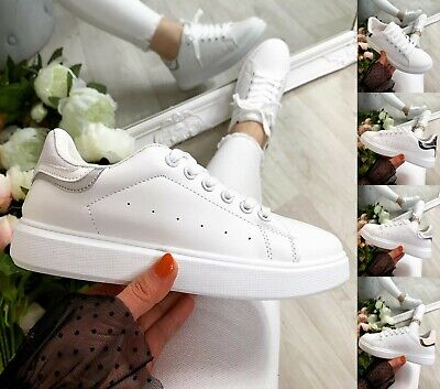 £13.99 • Buy Ladies White Flat Trainers Women Lace Up Retro Sneakers Comfy Gym Pumps Shoes