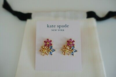 $ CDN48.71 • Buy Kate Spade First Bloom Cluster Studs In Gold-Tone Multicolor