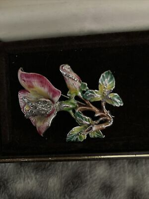 £7.50 • Buy Antique Orchid Brooch With Marcasite