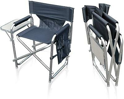 £52.95 • Buy Camping Folding Alloy Sports Directors Chair With Pockets And Side Table Grey
