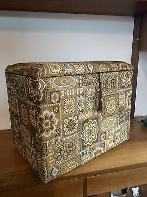 £55 • Buy Vintage Retro 1960's 70's Sewing Box Knitting Case Work Box Foot Stool Poufee