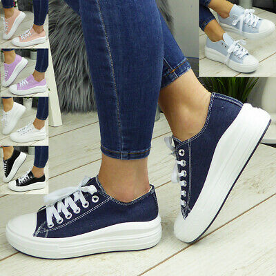 $ CDN27.28 • Buy Ladies Canvas Trainers Shoes Sneakers Platform Lace Up Womens Pumps Boots Casual