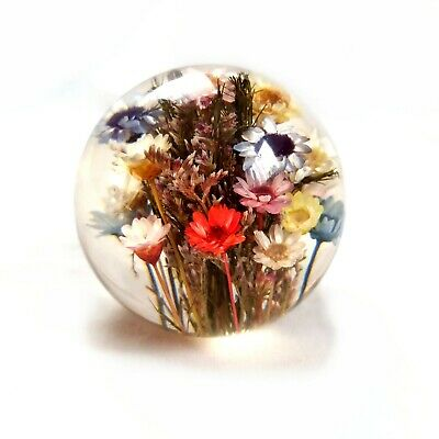£30 • Buy Vintage 1998 Hafod Grange Paperweight Mixed Flora Multicolored Daisies