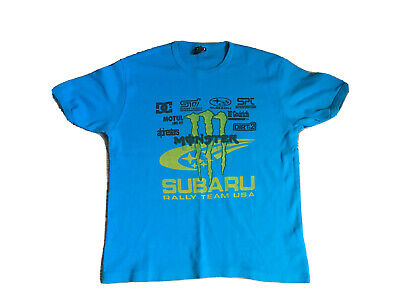 £10 • Buy DC Shoes USA Teal Blue Short Sleeve T-shirt With Brands Print Monster Subaru