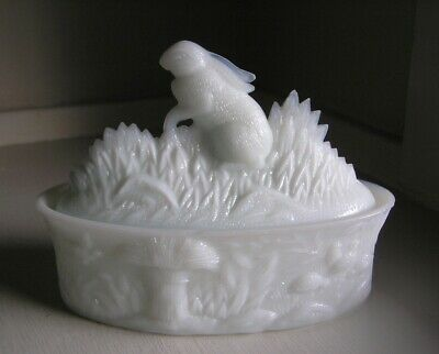 $595 • Buy E.C. FLACCUS MILK GLASS RABBIT IN HIGH GRASS COVERED DISH