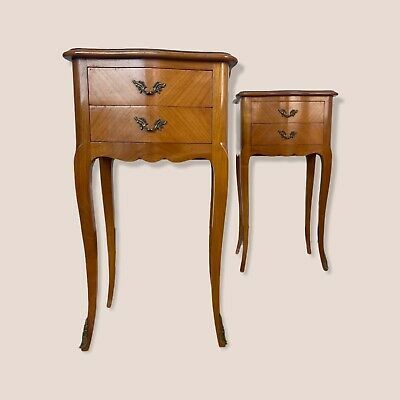 £495 • Buy Vintage Pair French Parquetry Bedside Tables Cabinets
