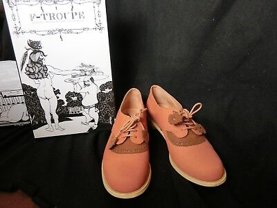 £40 • Buy F-Troupe Coral Brown Nubuck Leather Brouges Lace Up Oxford Shoes- Size:37