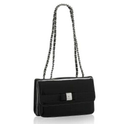 £159 • Buy Russell Bromley Black Patent Leather Shoulder Bag Bow Trim New RRP £225