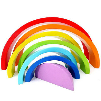 £5.60 • Buy 7 Colors Wooden Stacking Rainbow Shape Child Kids Educational Toy Gift UK Stock