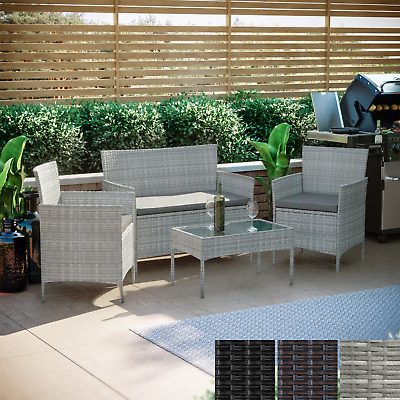 £168.95 • Buy Rattan Garden Furniture Set 4 Piece Chairs Sofa Outdoor Dining Table Bench Patio