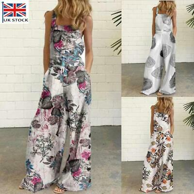 £12.97 • Buy Womens Ladies Sleeveless Jumpsuit Floral Summer Holiday Harem Playsuit Rompers