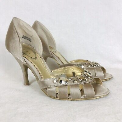£9.99 • Buy Debut Shoes 3 Strappy Peep Toes Champagne Satin Embellished Occasion Evening 36