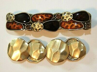 $ CDN18.25 • Buy LIA SOPHIA Signed Stretch BRACELET Lot, BRASS, Amber, Brown, Complementary Pair