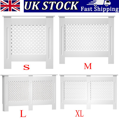 £50.99 • Buy Radiator Cover Modern MDF Wood Grill Cabinet With Vertical Slats In White Tall